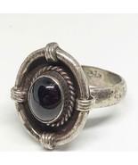 Sterling Silver Deep Garnet Ring Size 8.75 Vintage - $58.04