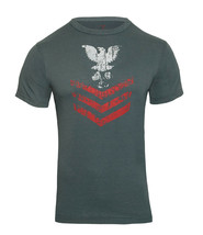 Navy Blue Naval Rank Insignia Vintage Short Sleeve Design T-Shirt - $12.99+