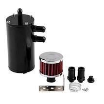 Aluminum Baffled Oil Separator Catch Can Tank & Breather Filter 300ML Ve... - $29.52