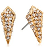 Rebecca Minkoff Gold Tone Pave Spike Stakes Stud Earrings Gold/Crystal NEW - $75.99