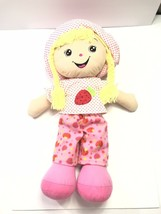 "Goffa Strawberry Large Rag Doll Plush 26"" Yarn Hair Pink Shirt Hat Pants - $29.40"