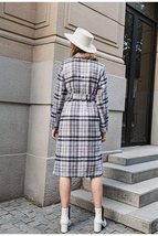 Women's New Style Long English Vintage Plaid Full Length Woolen Trench Coat image 3