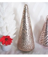 Gold /Blush Hue Hobnail Knobby Textured Speckled Mercury Glass Tree Hand... - $35.73
