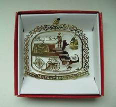 Massachusetts Brass Ornament State Landmarks Souvenir - $13.95
