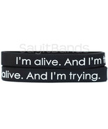 2 Wristbands - I'm alive. And I'm trying. Motivational Silicone Bracelets - £4.24 GBP