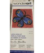 Wonderart BUTTERFLY Latch Hook Rug kit NIP makes 12x12 pillow or wall ha... - $15.51