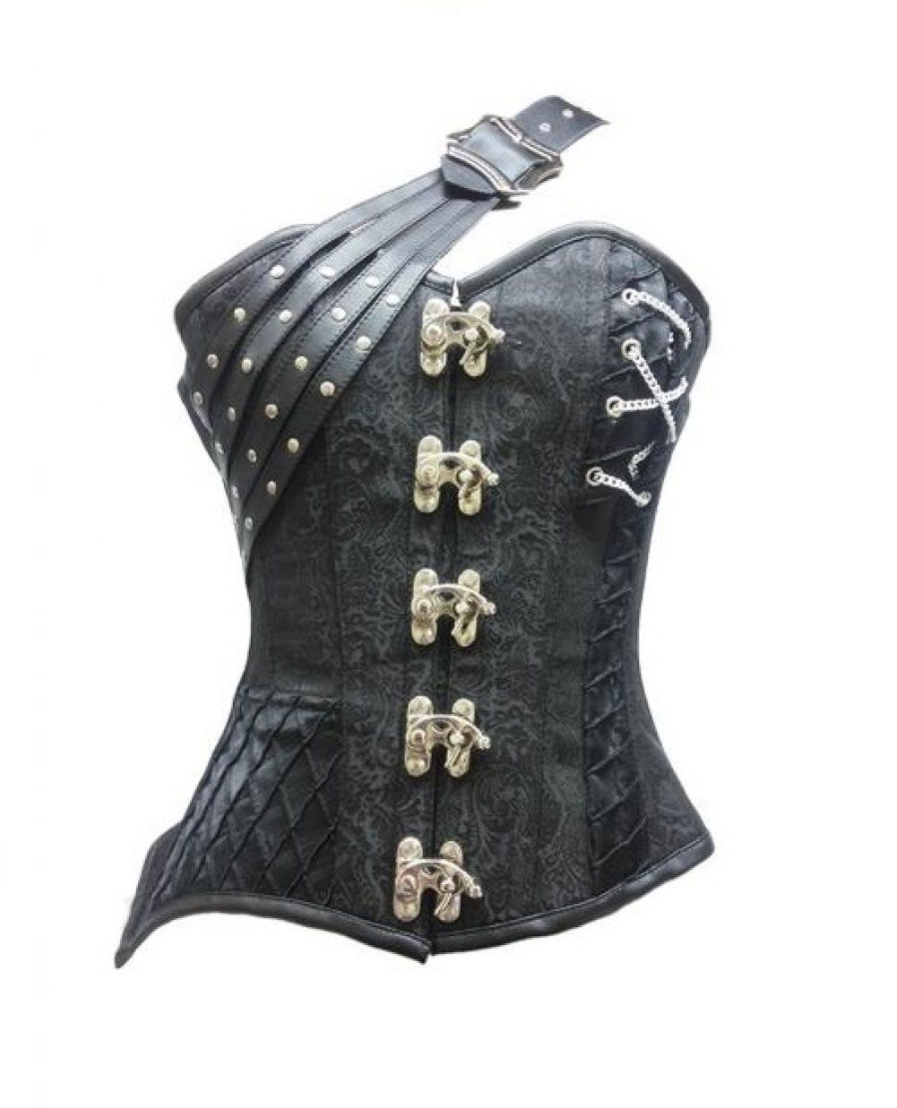 Black Brocade & Leather Straps Gothic Steampunk Bustier Fantasy Overbust Corset