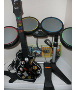 Xbox 360 Rock Band Guitar Hero Bundle 4 Games Drums Sticks Guitar Microp... - $395.95