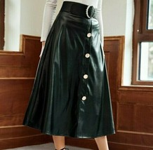 Women Ladies Elegant Faux PU Leather High Waist Button Belted A-Line Fla... - $71.99