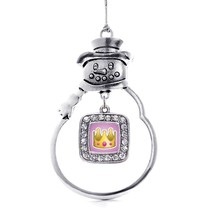 Inspired Silver Crown Emoji Classic Snowman Holiday Christmas Tree Ornament - $14.69