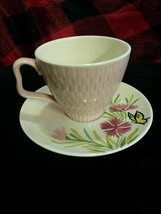 Old Vintage Red Wing Cup & Saucer textured butterfly pink spice flowers ... - $9.99