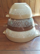 3 Piece Set of Vintage Pyrex Woodland Brown Cinderella Nesting Mixing Bowls - $17.82