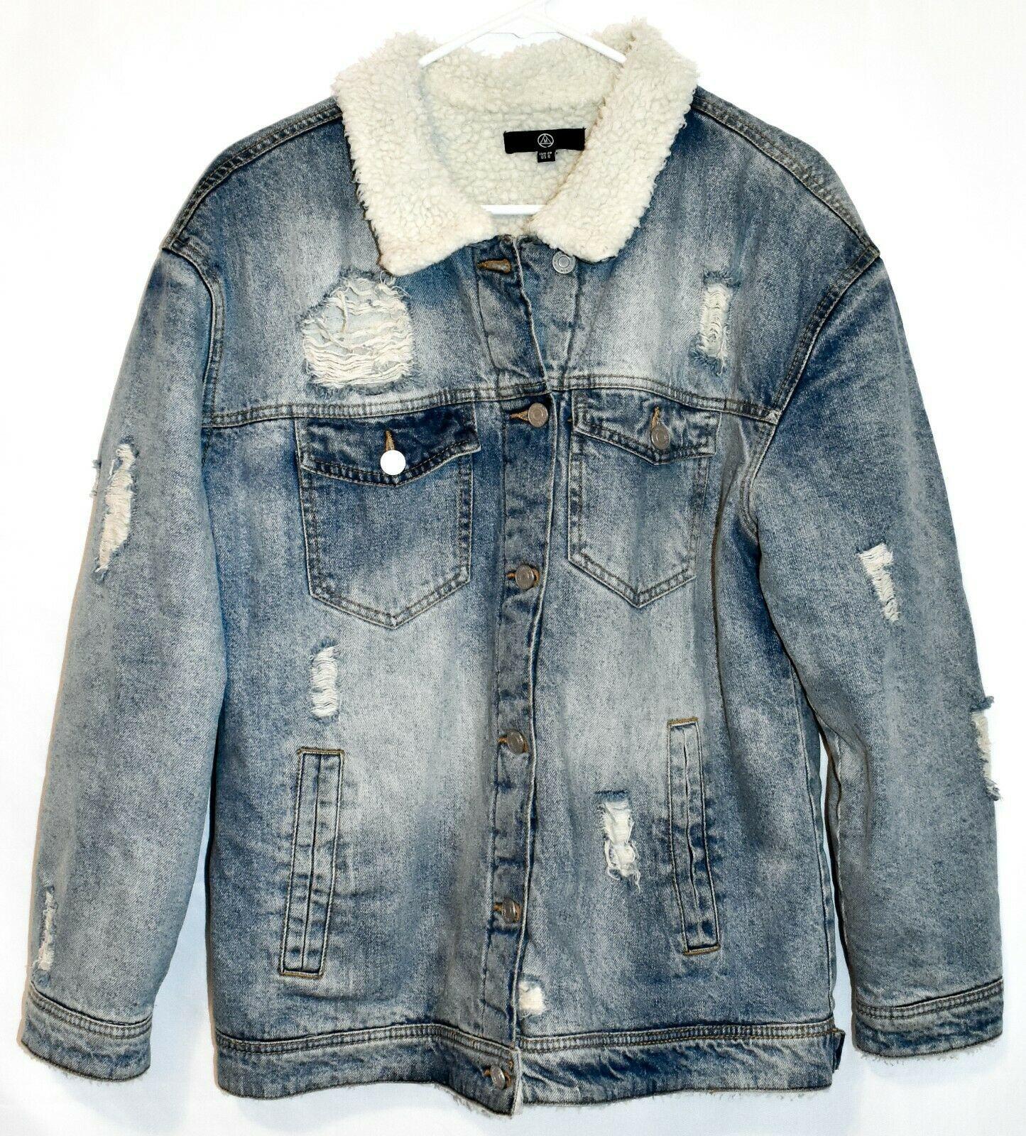 Missguided Women's Distressed Denim Fleece Lined Heavy Winter Coat Size 6