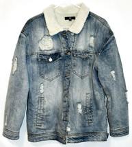 Missguided Women's Distressed Denim Fleece Lined Heavy Winter Coat Size 6 image 1