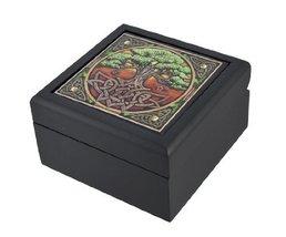 Lisa Parker Celtic Tree of Life Art Tile Trinket Jewelry Keepsake Box - $13.99
