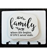 """Wall Mounted Keychain Holder Rack with saying -""""Family... LOVE never end... - $18.95"""