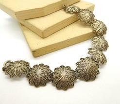 Vintage Silver Tone Filigree Mandala Flower Link Bracelet AA49 - $18.69