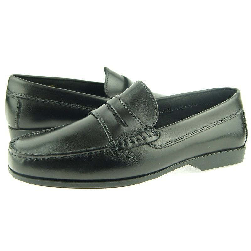 Men Black Color Moccasin Loafer Slip Ons Apron Toe Vintage Leather Classic Shoes