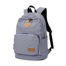 Women Backpack Casual Striped Canvas School Bag Travel Daypack Shoulder ... - $38.48