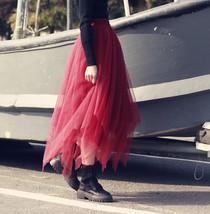 Women Burgundy Long Tulle Skirt A-line Irregular Long Tutu Party Skirt Plus Size image 2