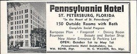 Pennsylvania Hotel St Petersburg Florida 150 Rooms w Bath 1956 Travel To... - $10.99