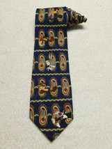 Looney Tunes Mania Blue Paisley Vintage Cartoon Necktie Tie Taz Daffy Ro... - $11.87