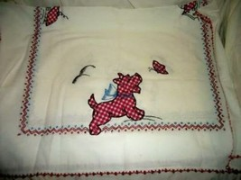 ANTIQUE SCOTTIE DOG BUTTERFLY TABLECLOTH APPLIQUE GINGHAM RED EMBROIDERY... - $38.99