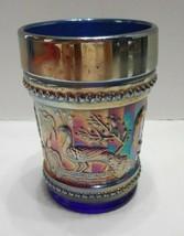 NORTHWOOD Antique Peacock Fountain  Cobalt/Golden Iridescent TUMBLER Buy... - $30.69