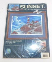 SUNSET No Count Cross Stitch Kit 'Moonlit Lighthouse'  New - $11.60