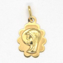18K YELLOW GOLD MEDAL PENDANT, WITH FLOWER VIRGIN MARY, MADONNA, LENGTH 0.87 image 1
