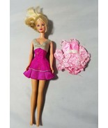 Vintage Barbie Doll 1991 Blonde Hair With Ponytail 2 Outfits Dresses Pink - $30.23