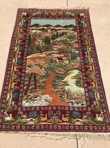 Rare Unique Persian Kashan Rug Fine Pictorial Carpet Antique 5'x7' C.1940s - $1,272.70
