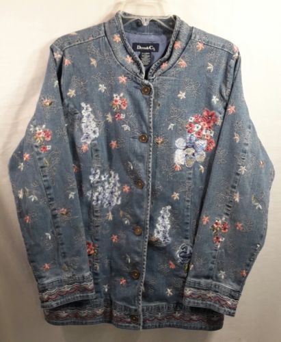 Primary image for DENIM & CO Stretch Cotton Embroidered Denim Lined Jacket Floral-Size XL