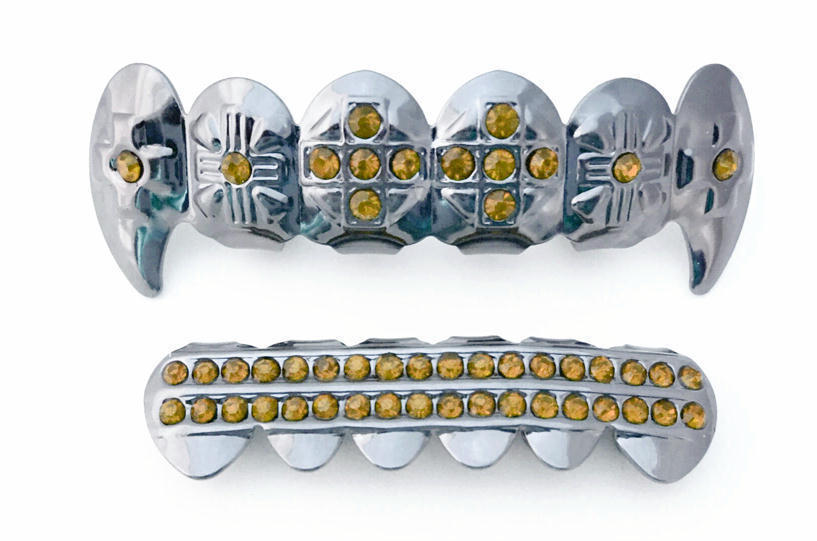 Silver Mouth Teeth Grills Grillz Top Bottom Set Cross Fangs Yellow Stones