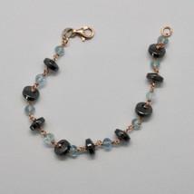 Bracelet En Argent 925 Avec AIGUE-MARINE À Facettes HÉmatite Made In Italy - $76.90