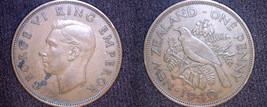 1940 New Zealand 1 Penny World Coin - $14.99