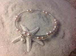 "Nice  Handmade! ""Soft Baby Pink"" Pearl Bead Wire Wrap Silver Bracelet Ba... - $10.95"
