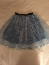 Girls Size 10 BJewel Solid Light Blue Skirt Organza Overlay Black Elasti... - $14.00