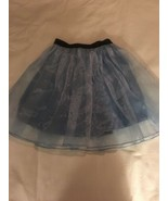 Girls Size 10 BJewel Solid Light Blue Skirt Organza Overlay Black Elasti... - $14.00