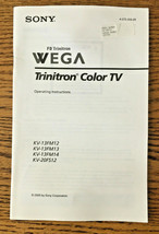 Sony WEGA FD Trinitron Operating Instructions Manual KV-20FS12 KV-13FM 1... - $8.41