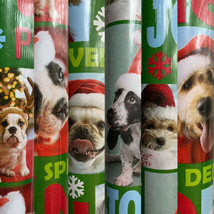 1 Roll Holiday Christmas Dogs with Santa Hats Christmas Gift Wrapping Paper  - $24.73