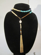 Chic Super Long beaded Tasseled Necklace - $14.00