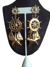 80s Huge Statement Gold Plated Nautical Sailboat Ship Wheel Anchor Starf... - $17.00