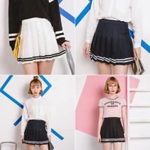Skirt For Girl Kawaii AA High Waist Pleated Striped Cute Korean Clothes ... - €17,34 EUR