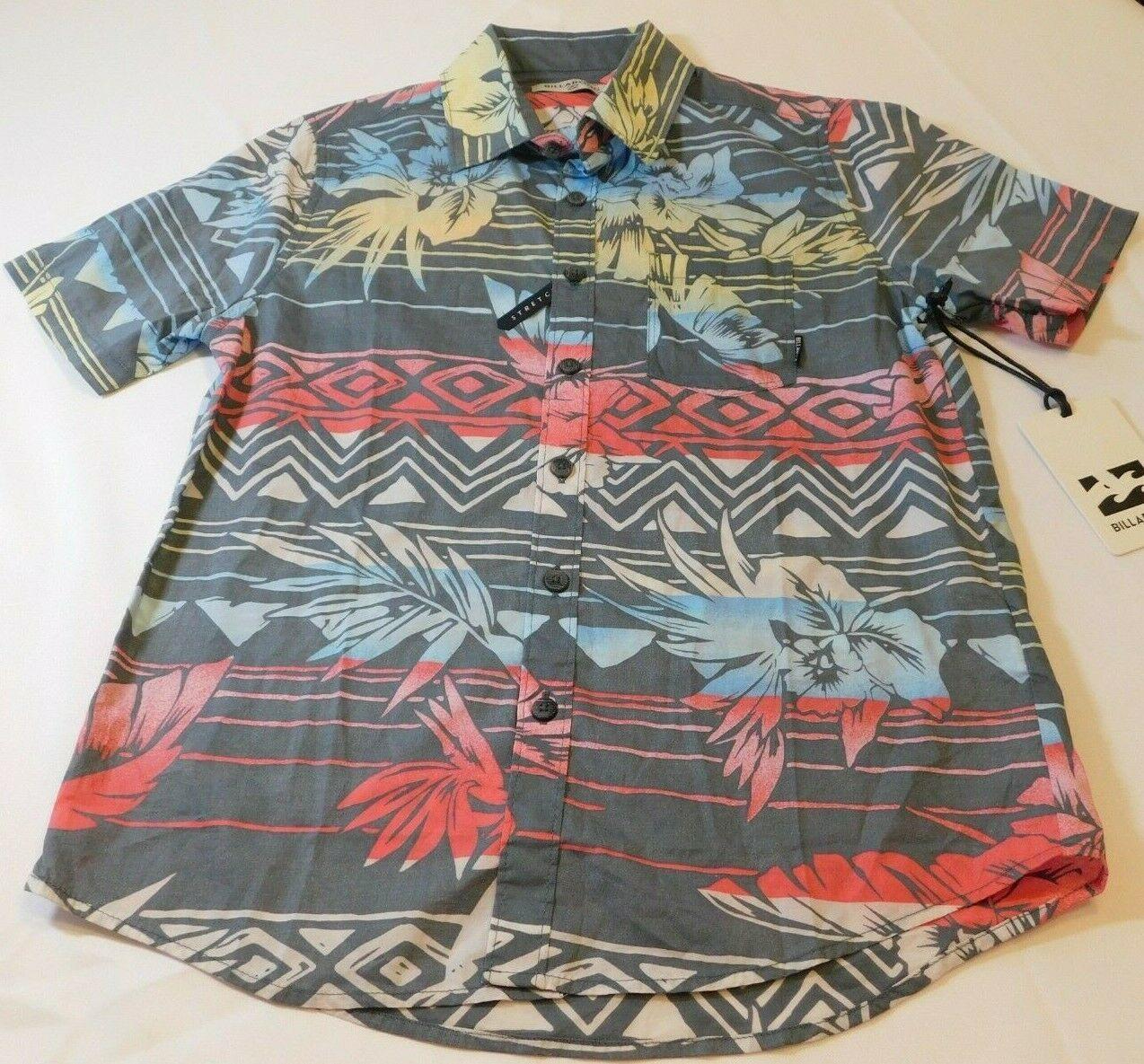 Billabong Boys Youth Short Sleeve Button Up Shirt Size S small Sundays Flor Chr