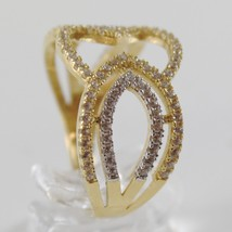 18K YELLOW & WHITE GOLD BAND RING, ALTERNATE OVAL WITH ZIRCONIA, MADE IN ITALY image 2
