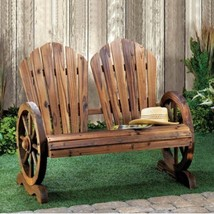 Rustic Bench Wagon Wheel Love Seat Couple's Chair w Classic Flared Backs - $145.53