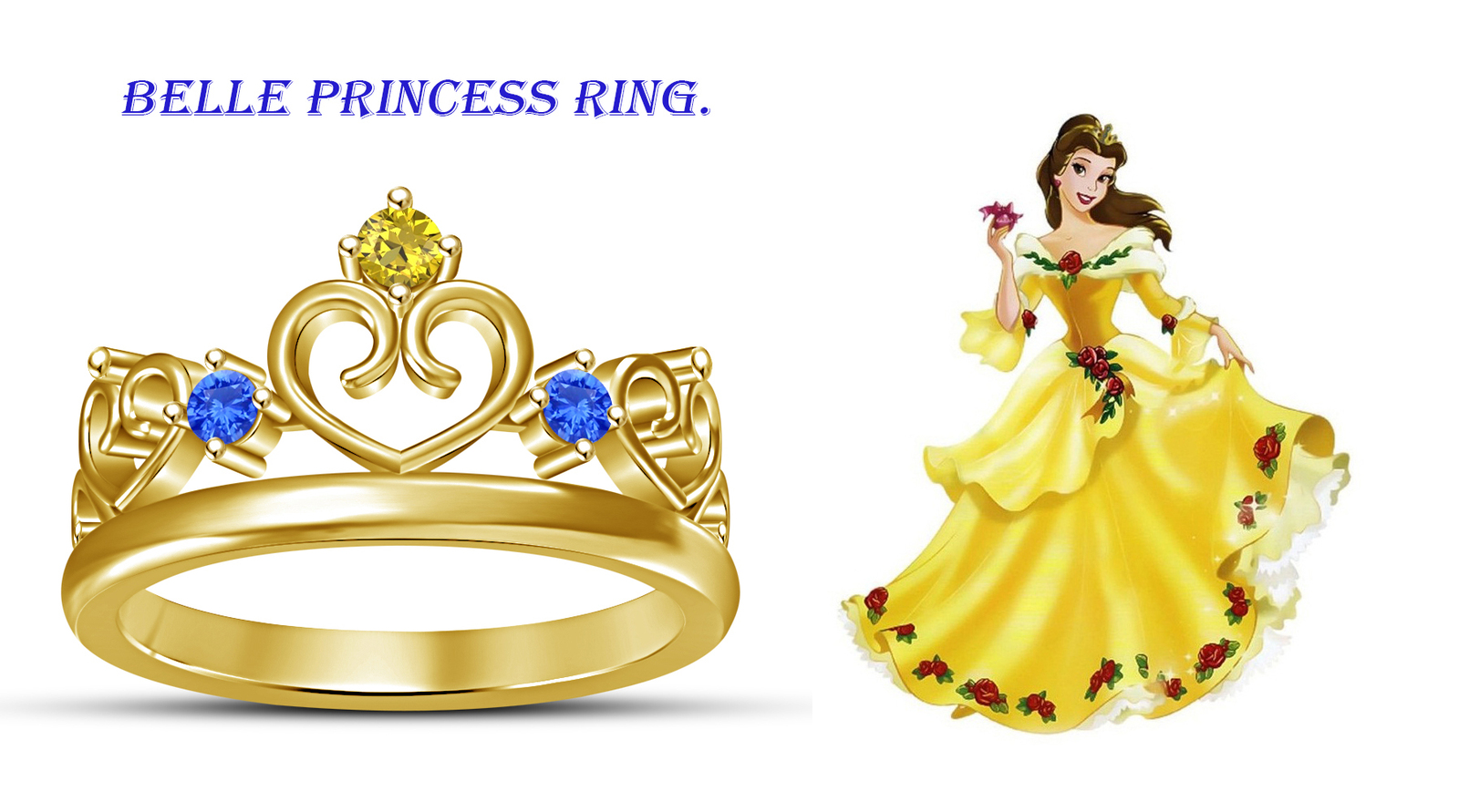 Primary image for 14k Yellow Gold Fn. 925 Silver Round Cut Multi Stone Women's Princess Crown Ring