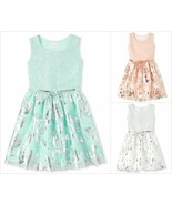 NWT The Childrens Place Girls Foil Jacquard Tutu Dress Pink Blue Silver - $12.99