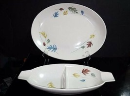 "2 Pc Vtg Franciscan AUTUMN Leaves - 13"" Oval Platter & Divided Vegetable... - $19.79"